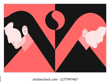 Couple in love. Two lovers, man and woman. Yin and yang concept. Vector illustration
