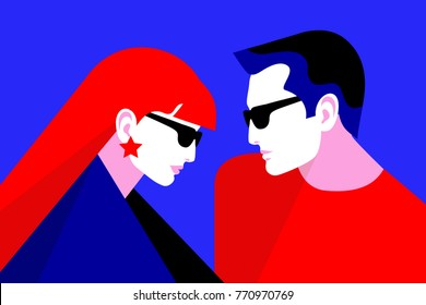 Couple in love. Two lovers, man and woman wearing sanglasses. Vector illustration