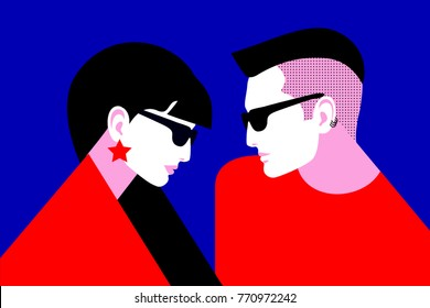 Couple in love. Two lovers, young man with punk hair and woman with long dark hair, wearing sunglasses and earrings. Vector illustration