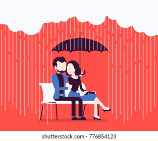 Couple in love under umbrella. Happy lovers sitting on bench feeling safe, secure from rain, together against danger of bad weather, common trust and believe. Vector illustration, faceless characters