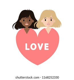 Couple in love vector characters isolated. Interracial love. Gay love.