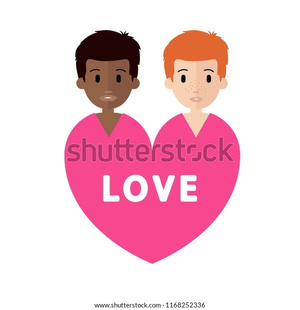 Couple Love Vector Characters Isolated Interracial Stock Vector
