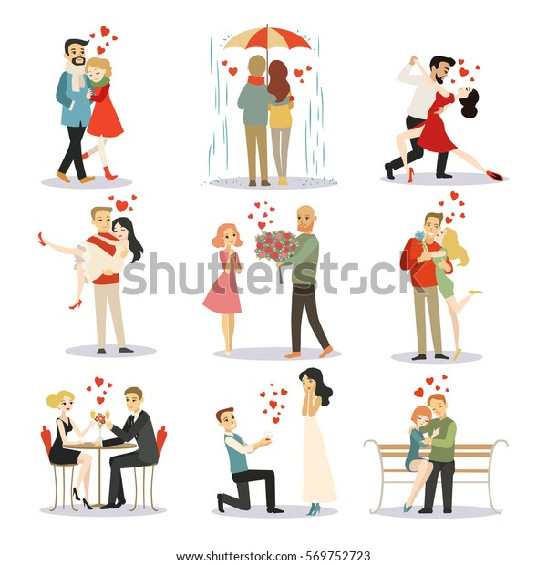 Couple Love Vector Characters Isolated Stock Vector (Royalty Free