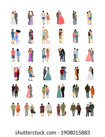Couple in love vector illustration big collection. Woman and man in love. Girl and boy dancing. Wedding couple, bride and groom ceremony. Senior people closeness. All generations family people set.