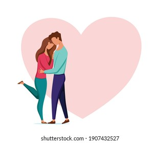 Couple in love vector illustration. Man and woman kissing, hugging, dating, embracing each other affectionately, love each other. Happy Valentines' day concept.
