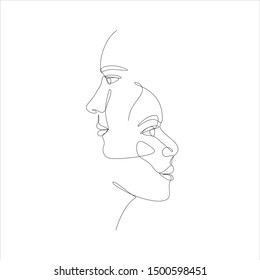 couple in love vector. couple line drawing. man and woman logo. people faces. faces of woman drawn in black continuous line in trendy modern minimalism style. Fashion print