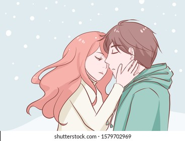 Anime Kiss Images Stock Photos Vectors Shutterstock
