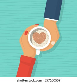 Couple in love women and man holding cup coffee with chocolate heart shape symbol. Happy Valentine's Day. Vector illustration flat design. Template for greeting card. Isolated on wooden background.