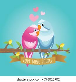 Couple Lovebird Romance Sitting on Tree Branches Vector Illustration