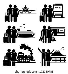 Couple Lover Honeymoon Holiday Vacation Stick Figure Pictogram Icon