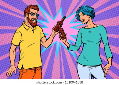a couple of lovers cheers a bottle of beer. husband and wife family date. Pop art retro vector illustration drawing vintage kitsch