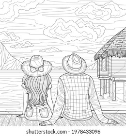 Couple of lovers on the seashore.Coloring book antistress for children and adults. Illustration isolated on white background.Zen-tangle style. Hand draw