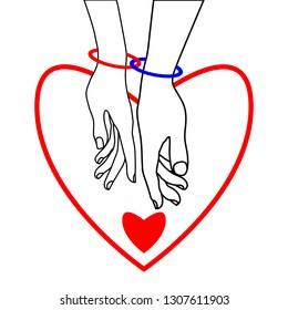 Couple of lovers and two hearts on a white background. Two rings connect the hands of loving couple. Black, white, red colors. The concept of Valentine's day, love, wedding. Vector illustration.