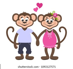 Couple of loving monkeys. Girl in a pink dress with a flower. A boy in a blue T-shirt and jeans. Two hearts. Romantic greeting card for Valentine's day. Cartoon character on a white background. Vector