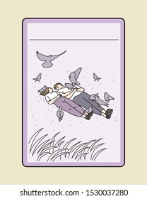 A couple is lying on the grass in the park and doves are flying around. hand drawn style vector design illustrations.
