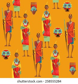Couple of maasai in traditional dress. Seamless background pattern. Vector illustration