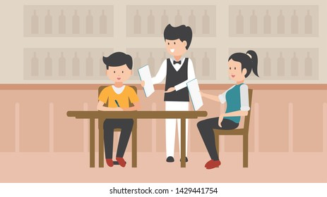 Couple makes order with waiter in restaurant. Couple in love in a restaurant. Respectable gentleman. funny cartoon illustration.  Waiter Accepts Order Restaurant Menu.