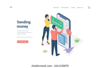Couple making money transaction on smartphone isometric vector illustration. Man and woman inserting credit card credentials into smartphone while sending money through app on website banner