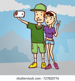 Couple is making a salfi. Hand drawn cartoon vector illustration.