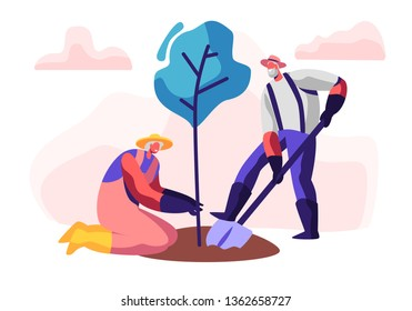 Couple of Male and Female Pensioners Planting Tree. Aged Man Digging Soil with Shovel, Woman Hold Plant. Old People Gardening Hobby, Senior Gardeners Working Outdoors. Cartoon Flat Vector Illustration