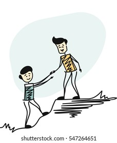 Couple Man hiking help each other, helping team work. Cartoon sketch concept isolated vector illustration.