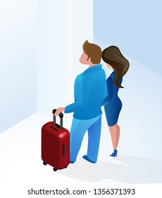 Couple Man and Woman arriving at Hotel Hall with Luggage Waiting Reception Staff Manager Vector Isometric Illustration. Husband Wife in Modern Lobby Interior. Registration Reservation Service