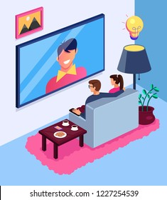 Couple man and woman character watching TV show news sitting on sofa in living room home. House modern interior concept. Vector flat cartoon isolated illustration