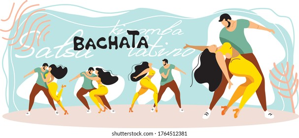 Couple man and woman dancing latin american dances. Latino, bachata, kizobma. Poses for dancing are depicted in a stylish picture in modern colors.
