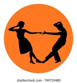 Couple man and woman dancing lindy hop, tango, salsa, bachata, vintage dance, black silhouettes, international tango day vector sign, icon, ads, promo banner illustration