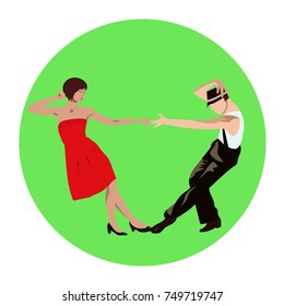 Couple man and woman dancing lindy hop, tango, salsa, bachata, rock-n-roll or twist vintage dance, vector sign, icon, ads, promo banner illustration