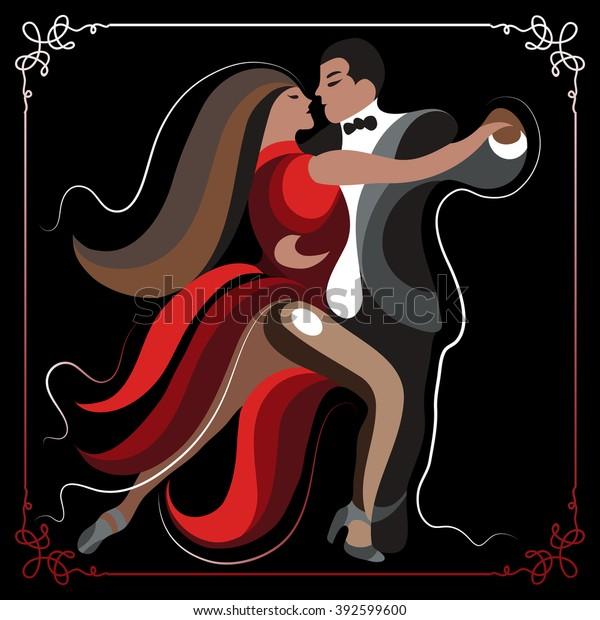 Couple Man Woman Dancing Tango Suitable Stock Vector