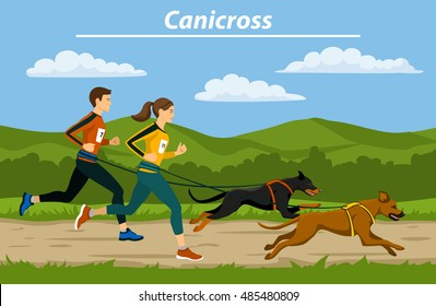 Couple, Man and Woman do canicross training  with their dogs in nature landscape vector illustration. Outdoor Exercising