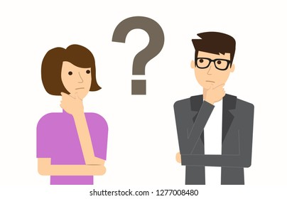 Couple of man and woman having a question. Thinking. Vector illustration