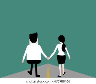 Couple man and woman holding hands and walking.