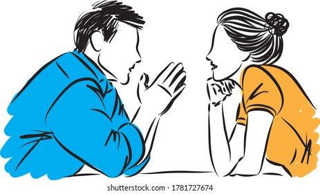 couple man and woman looking and talking each other vector illustration