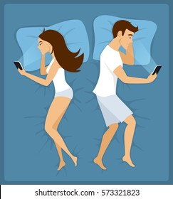 Couple, man and woman lying apart in the bed with smartphones vector illustration