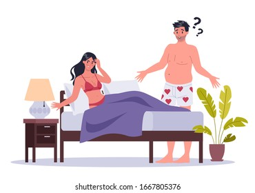 Couple of man and woman lying in bed. Concept of sexual or intimate problem between romantic partners. Sexual unattractiveness, and behavior misunderstanding. Vector illustration in cartoon style