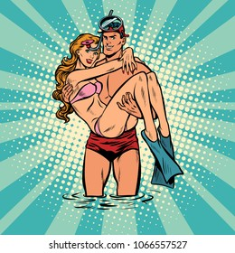 Couple man and woman resting on the sea. Lifeguard saved girl. Pop art retro vector illustration comic cartoon vintage