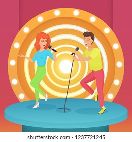 Couple, man and woman singing karaoke song with microphone standing on circle modern stage with lamps vector illustration.