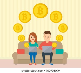 couple man and woman sitting on the sofa with laptop  minig bitcoin cryptocurrency
