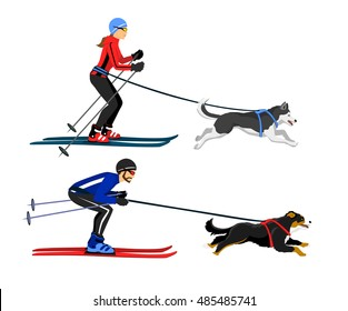 Couple, Man and Woman skijoring with their dogs vector illustration. Outdoor winter activity