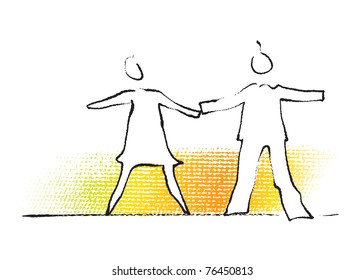 Couple - man and woman, stylized icon, silhouette (painterly drawing)