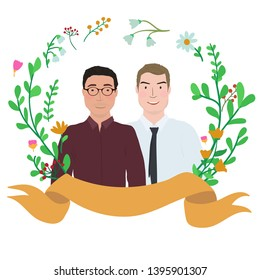 Couple of men in floral wreath frame. Cartoon characters.
