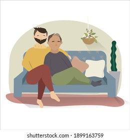 Couple of men, friends or lovers, on the sofa resting, watching a movie, a series or chatting. Vector flat style cartoon illustration. Isolation, stay at home.