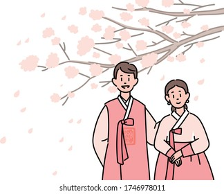A couple of men and women in traditional Korean costumes stand. Large cherry blossom background. hand drawn style vector design illustrations.