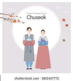 A couple of men and women wearing Hanbok on Chuseok, a traditional Korean holiday. A man and a woman stand holding a Chuseok gift. Flat illustration with resizable.