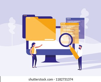 couple with monitor computer in landscape
