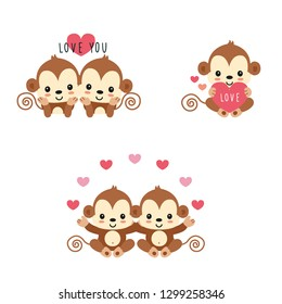 Couple monkey in love.Hand drawn vector illustration.