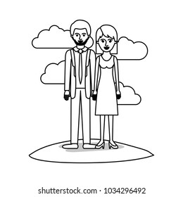 couple monochrome scene outdoor and him with suit and tie and pants and shoes with short hair and stubble beard and her with dress and heel shoes with mid length hair