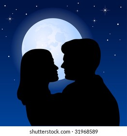 Couple and the moon - vector illustration